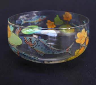 Helen walton glasgow school enamelled glass fish bowl for Helen h deep sea fishing