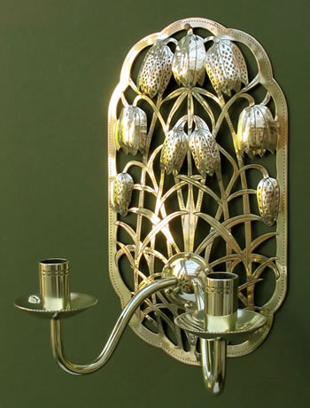 Fritillary sconces details for Arts and crafts candle sconces