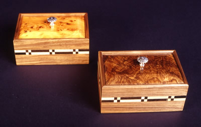 silver inlaid handle boxes